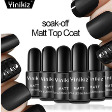 Yinikiz Puple Black Color Matte Top Gel Nail Polish Frosted Finish Coating Soak-Off UV&LED Gel Top Base Coat Nail Art Set