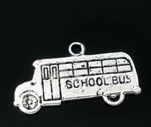 DoreenBeads 50 Antique Silver School Bus Charms Pendants 23x13mm(China)