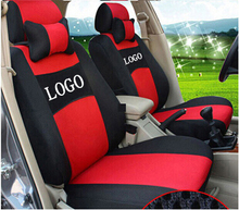 Car Seat Cover Embroidery Logo Front&Rear Complete 5 Seat Set For Dodge Ram Charger Durango Journey Dart Dedicated Wraparound