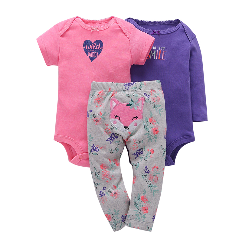 2018 newbron baby girl clothes cotton o-neck romper+animal fox pants 3pcs clothing set smile letter with heart print casual