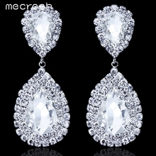 Mecresh Clear Crystal Long Drop Earrings 5 Colors Teardrop Bridal Party Wedding Jewelry for Women EH003