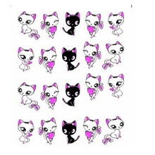 1sheets NEW Lovely Cute Shy Cat Nail Art Stickers Decals Women Decorations French Tips Nail Art Water Transfer Wraps(China)