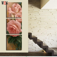 Rose Flower Wall Pictures With Framed  Ready To Hang For Christmas And New Year Decorations For Home Decor Modern Canvas Arts