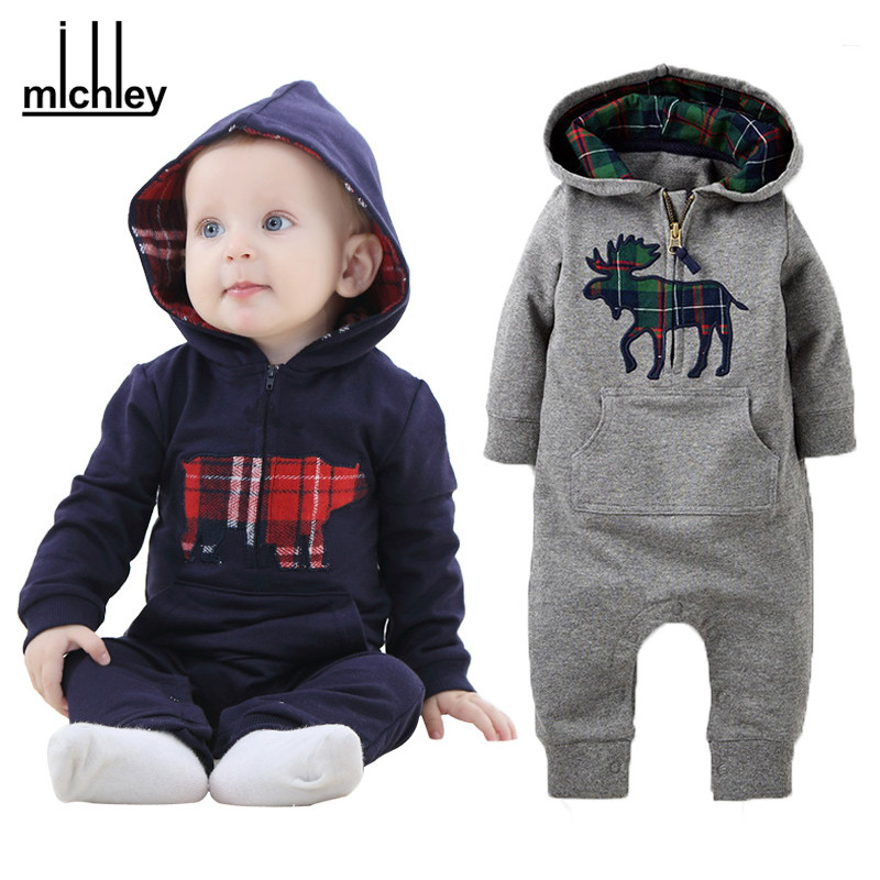 MICHLEY Baby Romper 2017 Fashion Newborn Jumpsuit Clothes Ropa De Long Sleeve Hooded Cotton Costume Spring Autumn Clothing JY063(China (Mainland))