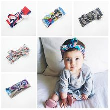 Headband Newborn Baby Girl Headwrap Turban Knot Head Band Floral Print Bow Toddler Hairband Accessories Infant Kids Headwear