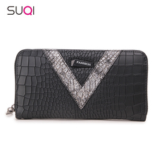 SUQI Women Wallet New Pu Women Wallets Long Crocodile Pattern Female Wallet Fashion Wild Girl Wallets