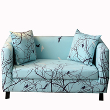 Tired birds go back to the forest Poetic scenery pattern sofa cover Anti-wrinkle light blue Slipcovers For Chair Loveseat Sofa