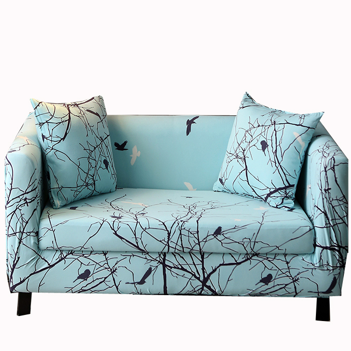 Tired birds go back to the forest Poetic scenery pattern sofa cover Anti-wrinkle light blue Slipcovers For Chair Loveseat Sofa(China (Mainland))