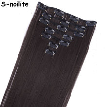 S-noilite 7 Piece 22 inches Long Clip in Hair Extensions Full Head Clip on Hair Extentions Real Thick Synthetic Hairpiece(China)