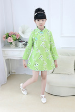 Children's cheongsam Linen Plum flower Long-sleeved princess dress Spring and Autumn models Girl dress