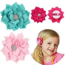 TWDVS Kids Lotus Flower Hair Clip Satin Diamonds Hairgrip Hair clips Newborn Hair Flower Accessories W132