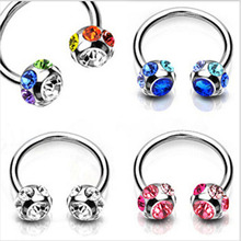 Multi Color Nose Stud Surgical Steel Crystal Horseshoe Lip Bar Stud Nose Ear Nipple Ring Hoop Piercing Women
