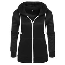 Women Hoodie Sweatshirt New Fashion Front pocket Zipper Casual Hooded Top(China)