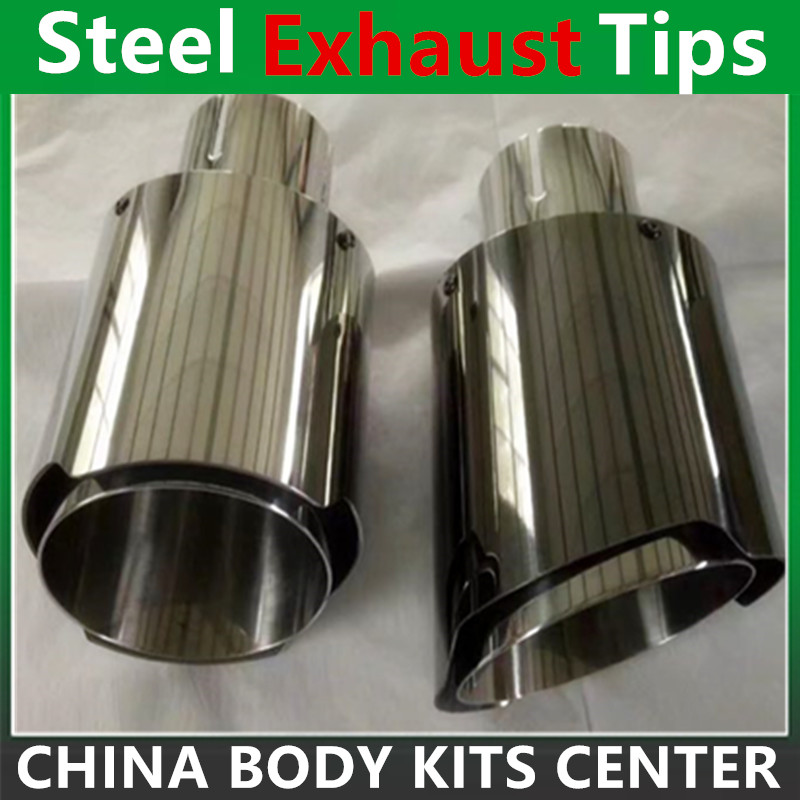 2Pcs Universal Exhaust Pipe Akrapovic Exhaust Tips Silver Stainless Steel Muffler Pipe for BMW Audi VW Benz Nissan(China (Mainland))
