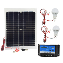 12V 20W Monocrystalline Solar Panel with 10A Charger Controller and 2pcs Led Lamp Rechargeable Battery Charger Solar Cells(China)
