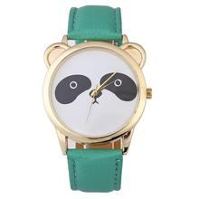 Vintage New Neutral Diamond Lovely Panda Face Faux Leather Quartz Watch Fashion Casual Relogio Feminino Hot Sale Gifts #30(China)