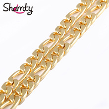 Shamty 10MM 2017 Fashion Pure Gold Color Necklace Hiphop Big Snake Chain Necklace Gold Chain For Men Free Shipping(China)