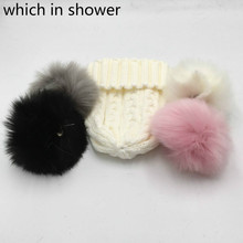 which in shower Personality Custom Winter Women Hat DIY Knitted Cable Skullies Beanies Unique Gift With Colorful Pompom Ball(China)