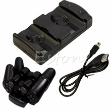 OOTDTY New 2in1 Black USB Charge Double Deck for PS3 Dual Shock Move Wireless Controller(China)