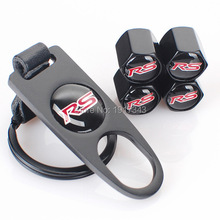 RS Logo Leather Buckle Valve Cap Wheel Tyre Tire Valve Dust Stems Air Caps Cover + Wrench Key Chain for RS Fusion Everest Escape