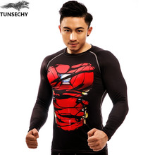 TUNSECHY Brand Fashion Flash Man Four Needles Six Lines Cheap Price Quick Dry Exercise Workout Fitness Sportswear Men t Shirt