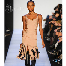 Free Shipping! 2016 A/W Runway Top Design Metallic Tassels Bodycon Bandage Dress  Dress Celebrity Wear