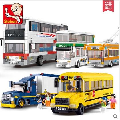 New Original Sluban School Bus 392pcs Building Blocks City Series Double-decker bus Container truck kids toy set M38-B0333 gift<br><br>Aliexpress
