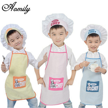Aomily 1 Set Polyester Kids Apron and Chef Hat Child Cooking Baby Apron Junior Chef Cook Apron Painting Apron Family Supplies