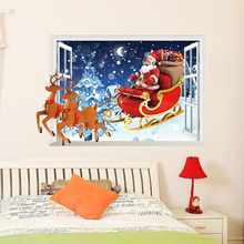 Santa Claus Reindeer Christmas Window Wall Sticker Wall Decal Christmas Decoration Xmas Window Decoring Remoavbel Decor Art(China)