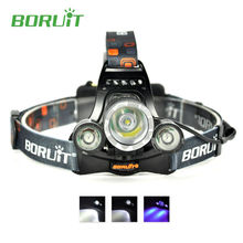 Boruit RJ-3000 Ultraviolet Torch Headlamp Headlight Rechargeable with Purple Light Mode + Charger for Fishing Camping Hiking