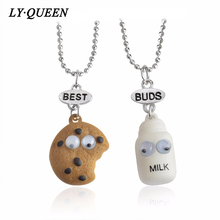 2pc / set BFF Fun Design Cookies and Milk Necklaces Best Friends Forever Sisters Necklaces Fashion Jewelery