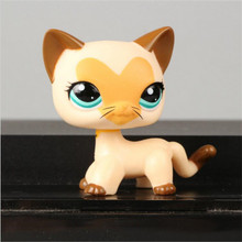 Pet Shop Animal Yellow Brown Short Hair Cat Kitty Doll Figure Child Toy Nice Gift Kids free shipping