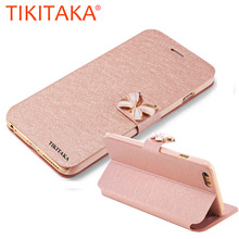 "Luxury Fashion Butterfly Built-in Card slot Silk Pattern 4.7"" Stand Flip Leather Mobile Phone Case For iPhone 5 5S SE 6 6S Plus(China)"
