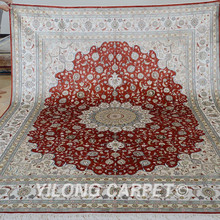 Yilong 8'x10' handmade silk persian rugs antique red china silk carpet price (0950)(China)