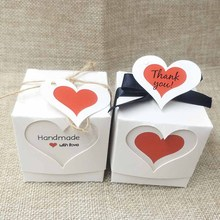 Fashion handmade gift package box white/kraft cute thank you label tag with candy /wedding favor display package box 5*5*5cm(China)