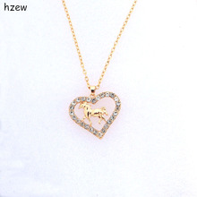 hzew Crystal heart-shaped horse necklace brand pendant necklaces women's fashion jewelry Christmas gift