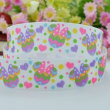 "50Y Free shipping 7/8"" 22mm Easter Minnie stripe grosgrain ribbon hairbow headwear party decoration diy wholesale OEM Y0293"