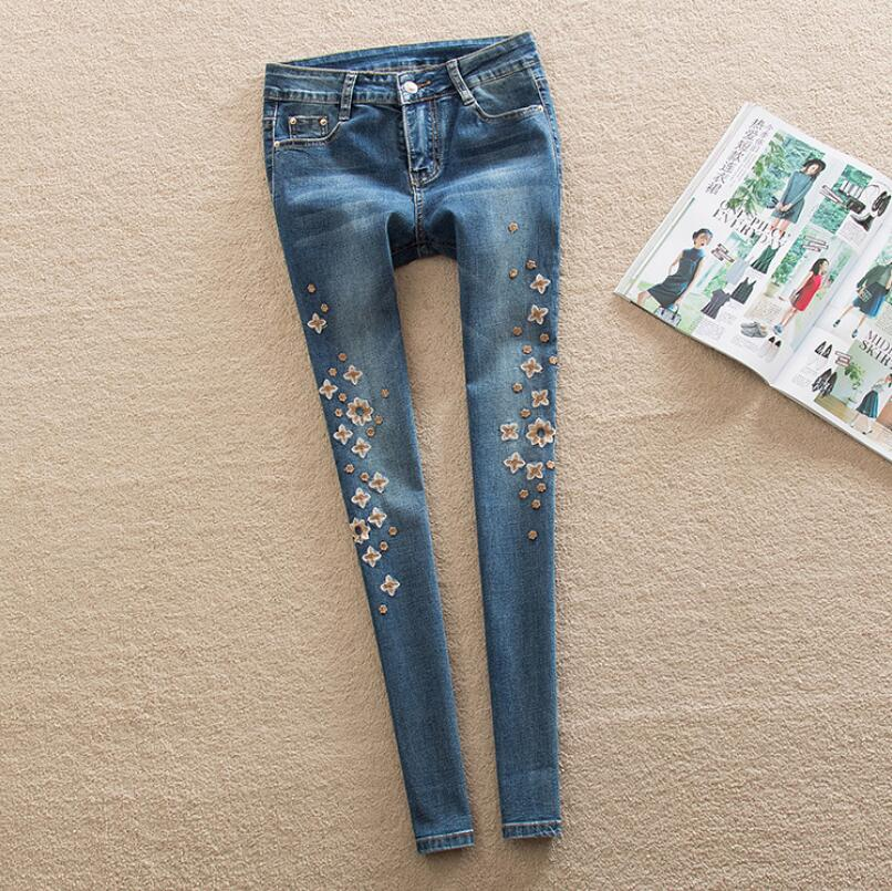 2017 New Arrival Womens Flower Embroidered Jeans Denim Pants trousers plus size S216Одежда и ак�е��уары<br><br><br>Aliexpress