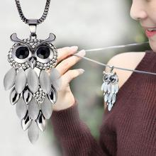 URORU collier femme jewelry natural stone statement necklace owl women bijoux colares 2017 choker long necklaces & pendants(China)