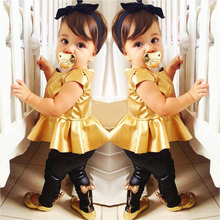 Fashion Baby Girls Cloth Sets Kids Shirt Dress+Legging Pants Children Clothes Set Suit Outfits Golden+Black