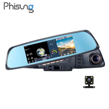 Phisung K05 Android ADAS Navigation mirror WIFI dash cam FHD 1080P Car recorder 6.86inch Autoregistrators DVR with two cameras(China)