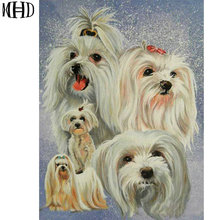 MHD 5d Diy Diamond Painting Cute Dog Cross Stitch Full Diamond Embroidery Crystal Round Diamond Mosaic Pic Seam(China)