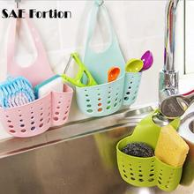 SAE Fortion Kitchen Accessories Adjustable Kitchen Racks Faucet Sponge Drain Hanging Bag Buckle-type PVC Kitchen Storage Basket(China)