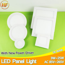 3w~25w Ultra Thin Round/Square Led Panel Light AC85-265V Downlight Ceiling Recessed LED Panel Light led down light lamp 15w 18w