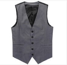 2017 New Arrival Blazer Dress Vest Men Suit Vest Cotton V-Neck Casual Tops Waistcoats For Men Clothing Gray Plus Size XS-5XL(China)