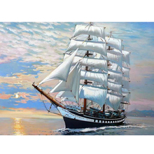Frameless sailboat picture Diy Oil Painting By Numbers Kits Wall Art Picture Home Decor Acrylic Paint On Canvas For Artwork(China)