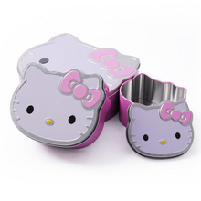 Lovely Cartoon Cat Small Candy Boxes,Kawaii Pink Red Storage Metal Box for Gift,Mini Cute Home Storage Organizer for Small Thing(China)