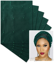 Army green 5 packs 10 pieces African Velvet headtie Beaded SEGO Head Tie gele scarf wrapper Advanced top quality