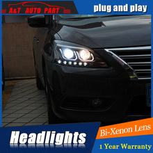 Auto Part Styling For Nissan Sylphy headlights DRL 2012-2015 For Nissan Sylphy LED light bar DRL Q5 bi xenon lens h7 xenon