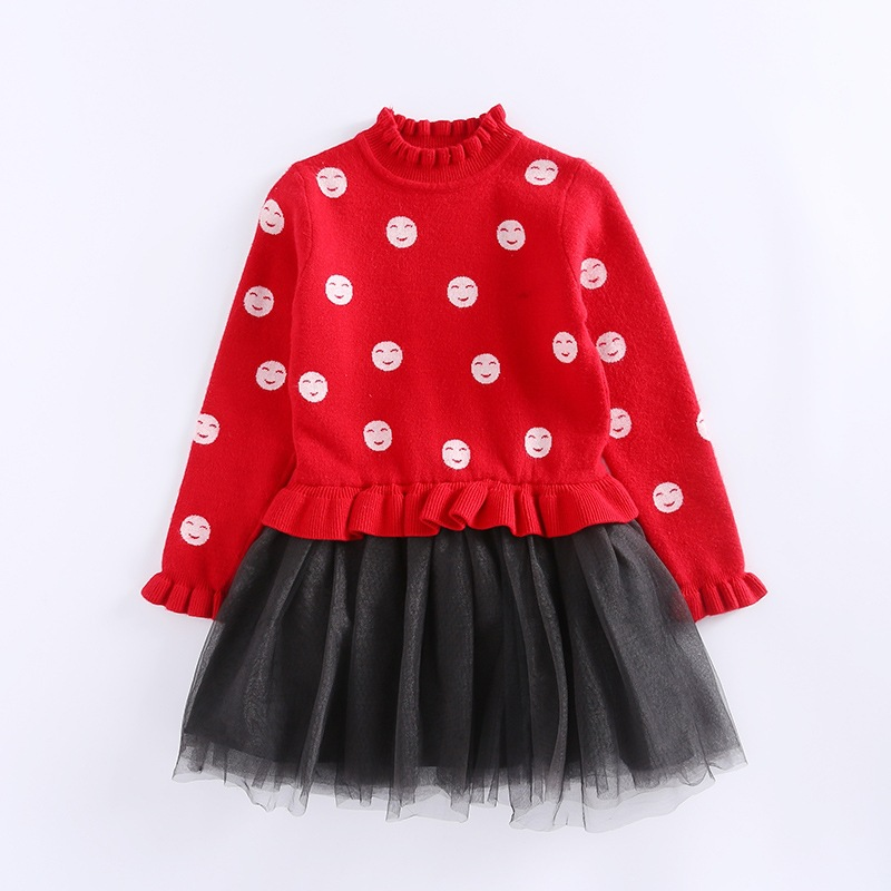Kids Sweater Dresses For Children dress clothing School Uniforms Smile Face Knitted Sweaters Girls dresses Tulle Princess Dress<br>